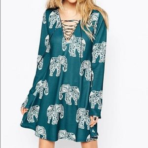 Missguided Dresses - ASOS Missguided Flare Sleeve Elephant Print Dress